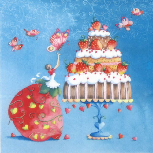 for Party Strawberry Cake Decoupage Craft 4x Paper Napkins
