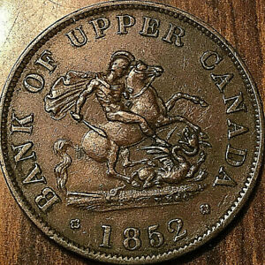 1852-UPPER-CANADA-DRAGONSLAYER-HALF-PENNY-TOKEN-Coinage-Excellent-example