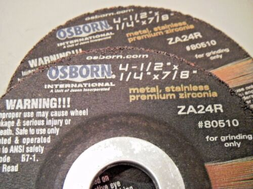 "Osborn 80510 Type 27 ZA24R Grinding Wheels 4 1//2/"" X 1//4/"" X 7//8/"" Qty = 2"