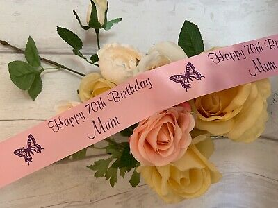 60th 70th 80th 90th 100th Birthday Personalised ORGANZA Ribbon cake gifts etc