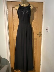Coast-Evening-Dress-Black-Size-14-Full-Length-Sequin-Lined-Beaded-Floaty