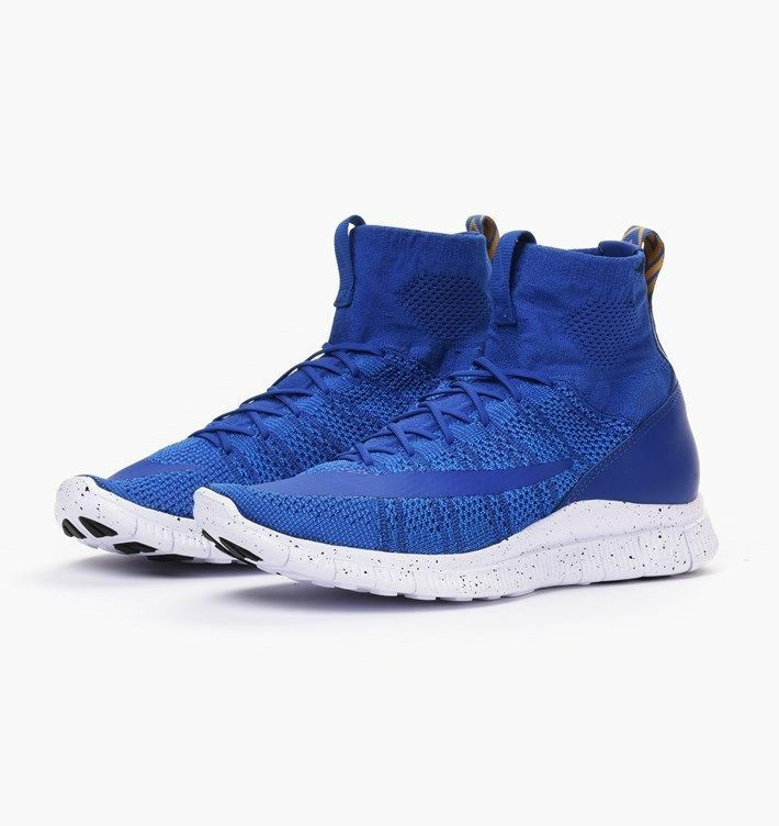 NEW Sz 11 Nike Free Flyknit Mercurial GAME ROYAL BLUE GOLD WHITE 805554-400