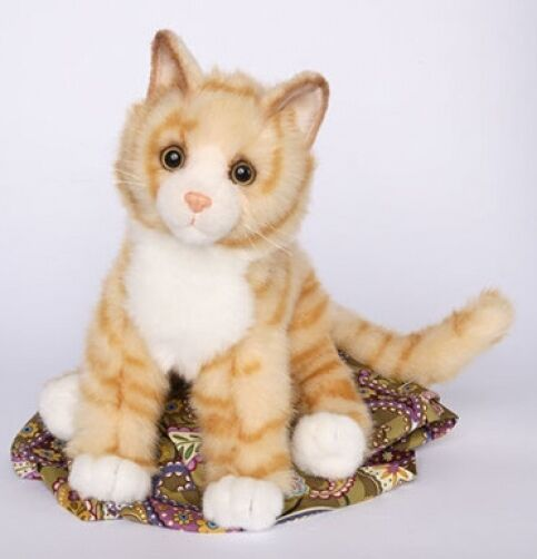 "PEACHES Douglas Cuddle plush 11"" long ORANGE TIGER stuffed CAT kitty animal NWT"