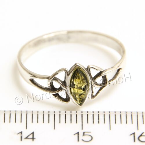 Bernstein Ring keltisch celtic Sterling-Silber verschiedene Größen 48-62 K268