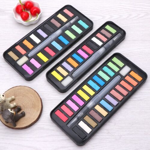 Portable 12//18//24 Solid Watercolor Paint Set Drawing Brush Art Painting Supplies