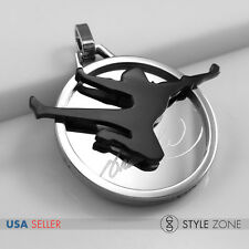 Stainless Steel Kung Fu Star Bruce Lee Logo on Round Pendant Jump Fly Kick 13Y