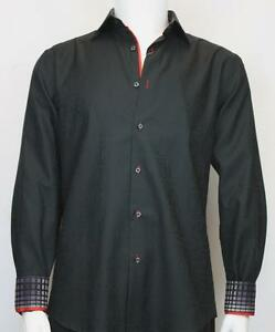 Men's St Cado Cotton Black Paisley Print Modern Fit Button Down ...