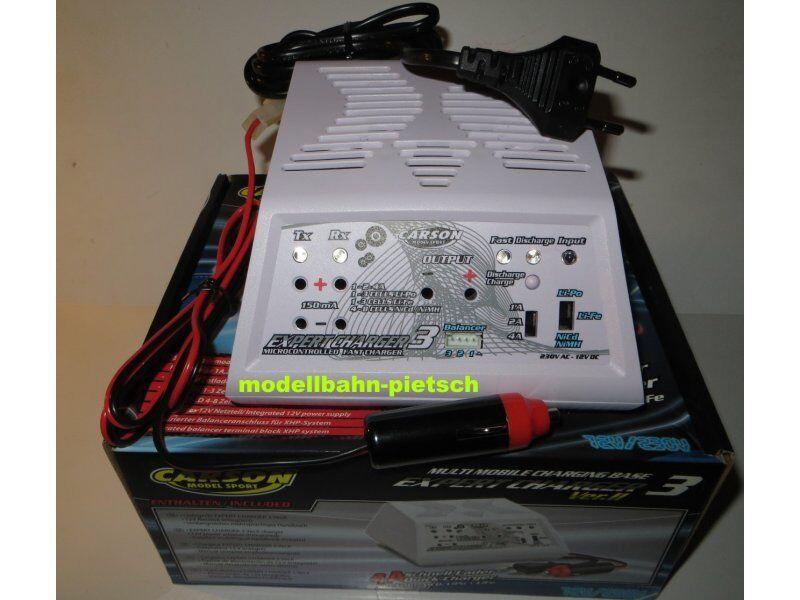 Carson 606045  Expert Charger 3 Vers. II - 12v/230v caricabatterie LiPo, NiMh , Nuovo, Confezione Originale