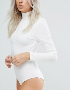 NEW-Womens-boohoo-Petite-Premium-Roll-Neck-Bodysuit-in-Ivory-Un-Tagged