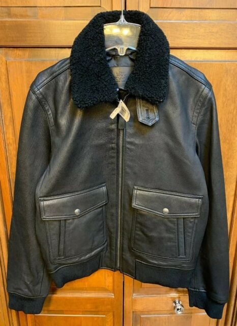 Coach Men Xs Goat Leather Shearling Collar Bomber Jacket Black