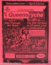 """QUEENSRYCHE """"OPERATION:MINDCRIME ACT I &II"""" LOS ANGELES 2005 CONCERT TOUR POSTER"""