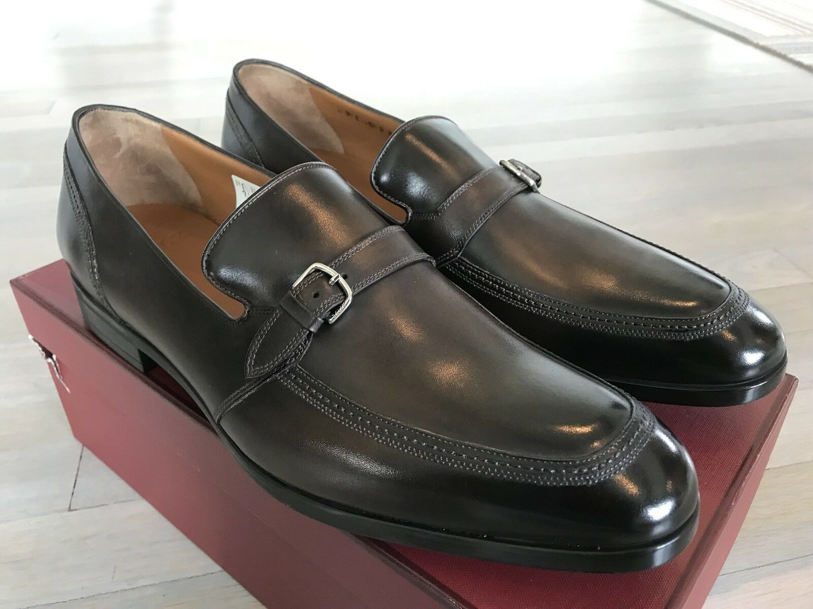 750  Bally Brown Lavoli Washed Leather Loafers Size US 12 Made in Switzerland