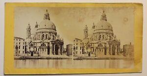 Venezia-Santa-Maria-Della-Salute-Italia-Foto-Stereo-Vintage-Albumina-c1860