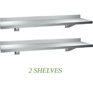 2 New Stainless Steel Wall Mounted Floating Shelf 5 X 36 L Kitchen Bathroom Ebay