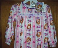 Disney Princess Sofia The First Long Flannel Nightgown Toddler Girls Size 2t