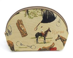 English-Horse-Travel-Makeup-Bag-Cute-Cosmetic-Bag-Pouch-Equestrian-Tapestry-Bag