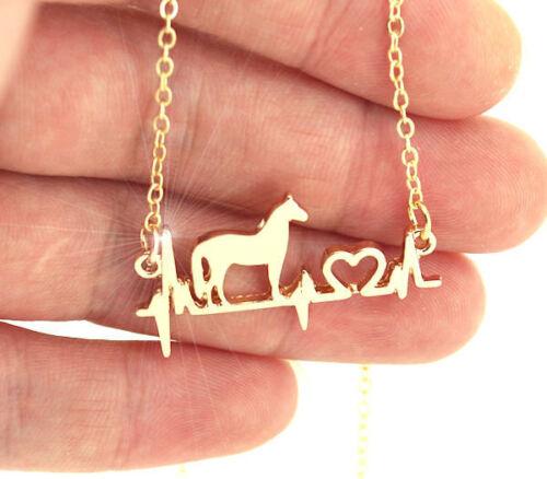HORSE /& WESTERN JEWELLERY JEWELRY EQUESTRIAN  HORSE CARDIO ECG  NECKLACE GOLD b