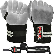 "Weight Lifting Wrist Wraps Support Fitness Training Gym Bandage Straps Grey 18"""