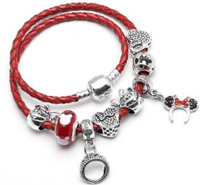 Disney Mickey Pandora Minnie Mouse Heart Ring Leather Bracelet Free Shipping Ebay