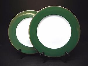 "Crate & Barrel Gold Edge Green Rim 10 1/4"" Dinner Plates (Set of 4 ) .."