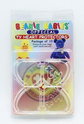 NIB VTG 1998 Ty Beanie Baby Official Heart Tag Protectors Hard Acrylic 10 Pack
