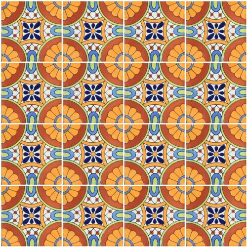 6 PCS Talavera 6X6 Handmade Ceramic Tile Mexican C187