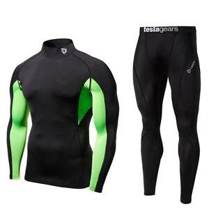 Mens-Compression-Black-Long-Sleeve-Pants-Set-Gym-Baselayer-Skin-Fitness-Tesla