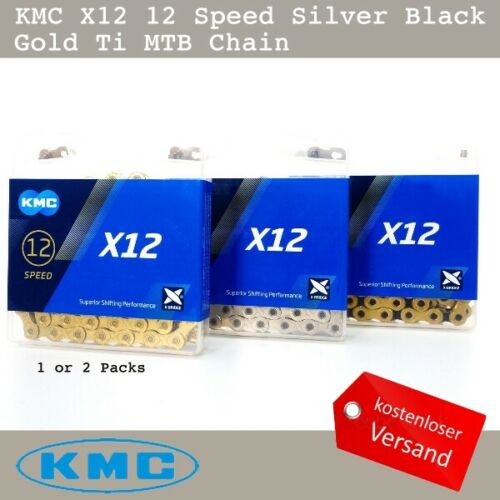 KMC X12 12 Speed Silber Schwarz Gold Ti MTB Kette 126 Links fit SRAM
