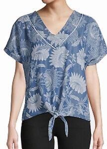 John-Paul-Richard-Womens-Blouse-Blue-Size-Large-L-Floral-Print-Tie-Front-38-045