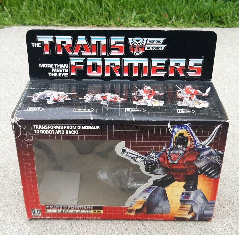 1984 Transformers G1 Dinobot Flamethrower Slag  Original scatola instruction librolet  varie dimensioni