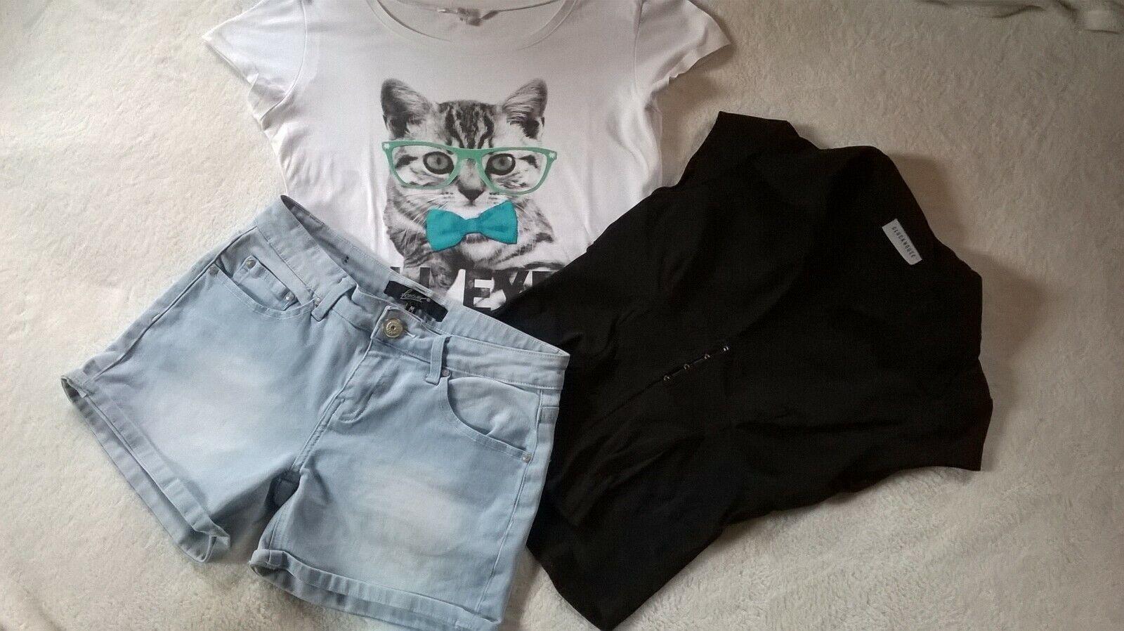 3tlg. - Jeans-Shorts hellblau, T-Shirt weiß und Bluse schwarz für Damen Gr. 36
