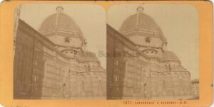 Firenze Cattedrale Italia Stereo Jean Andrieu Parigi Albumina Ca 1870