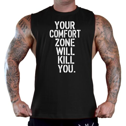Men/'s Your Comfort Zone Will Kill You Black T Shirt Tank Top Workout Gym V410