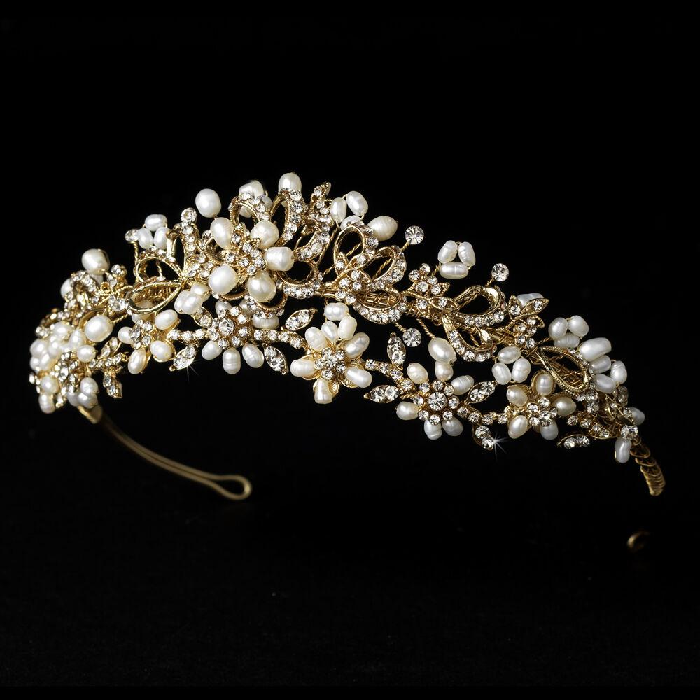 Champagne Gold Clear Rhinestone Freshwater Pearl Bridal Wedding Tiara Headband