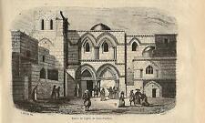 Stampa antica GERUSALEMME Santo Sepolcro Jerusalem Israel 1856 Old antique print