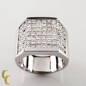 14-00-carat-Invisible-Setting-Diamond-18k-White-Gold-Men-039-s-Plaque-Ring