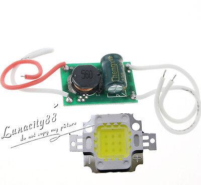 10W High Power Cool White LED Chips 900-1000LM DC 9-12V + 10W DC12V-24V Driver