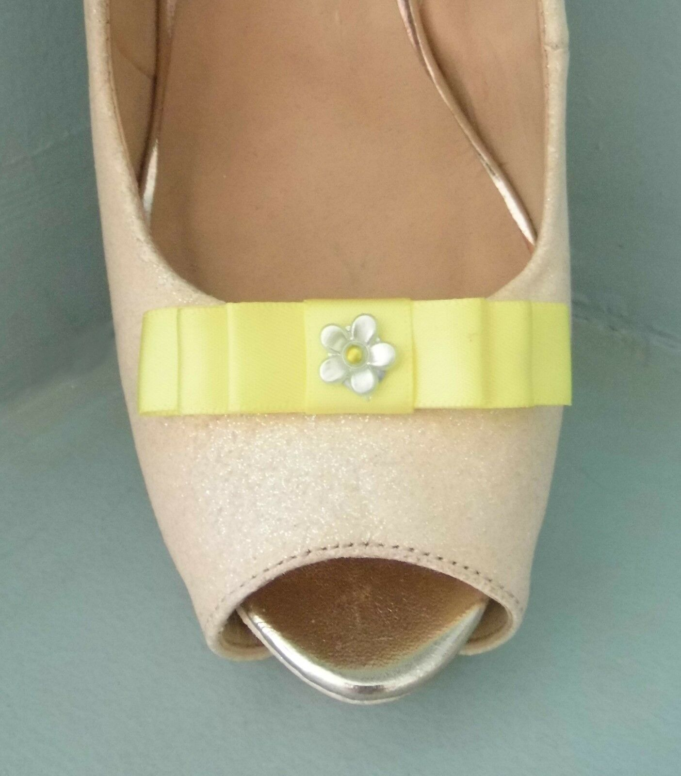 2 Small Lemon Bow Clips for Shoes with Little Flower Centre
