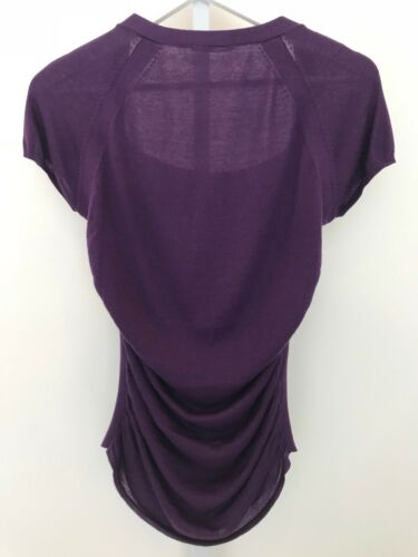 Neck Størrelse p Tahari Silk Firkantet Lilla Scoop Cashmere Cap Sweater Muffe S Elie TxgZwqFpw