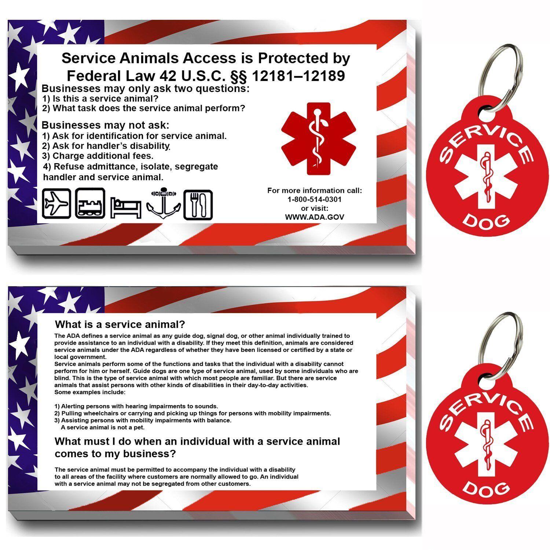 PetnovoUSA SERVICE DOG ID TAG KIT, (50 ADA INFO CARDS + Round TAGS)