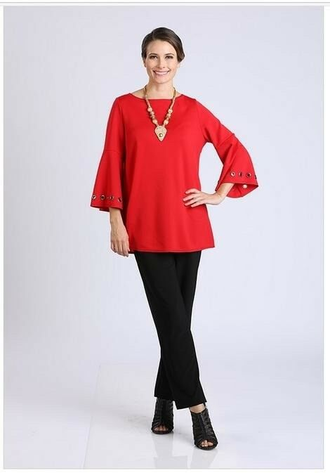IC Collection by Connie K rot Bell Grommet Sleeve Tunic Top L  NWT