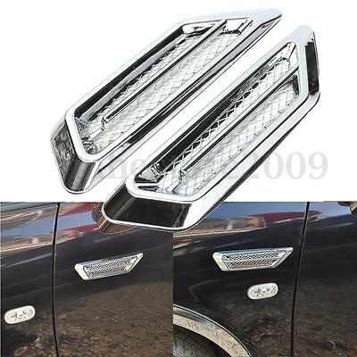 2Pcs Chrome Car SUV Air Flow Fender Side Vent Decoration Sticker For BMW / Benz