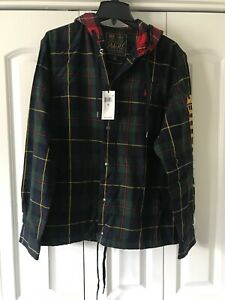 Polo-Ralph-Lauren-ST-ANDREWS-3-Hooded-Twill-tartan-Plaid-army-Jacket-Large-168