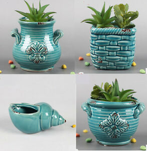 4pcs Ceramic Planter Plant Pot Indoor Outdoor Succulent