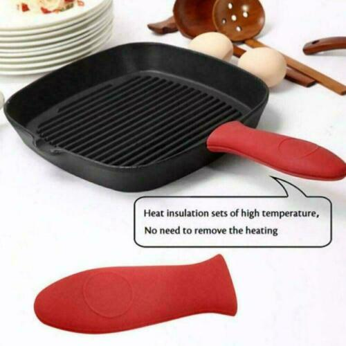 Red Pot Holder Cast Iron Hot Skillet Silicone Handle Potholder Sleeve Cover E2R3
