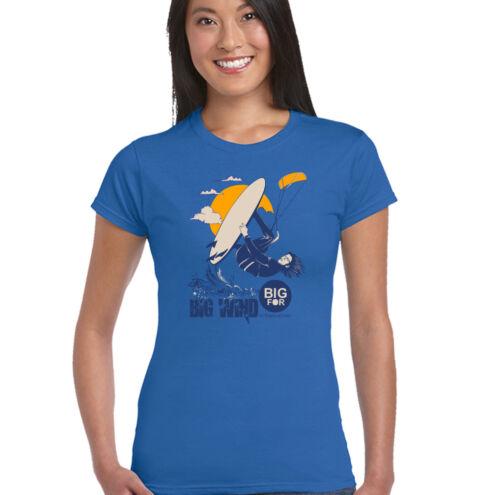 Big Wind Damen Lustiges Kitesurfen T-Shirt Kite Surfing Tafel Fallschirm