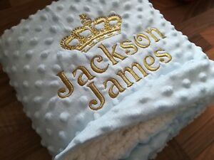 CROWN DIMPLE GREY WHITE PINK BLUE BOY GIRL PERSONALISED EMBROIDERED BABY BLANKET