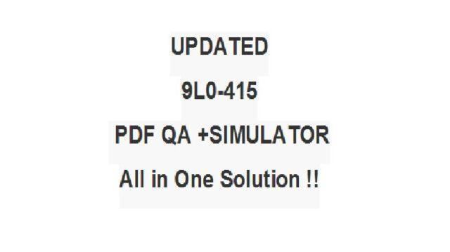 Apple ACSP Mac OS X Support Essentials 10 9 Test 9l0-415 Exam Qa PDF  Simulator