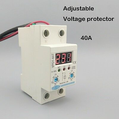 40A 220V Din rail adjustable voltage protective device relay with voltmeter