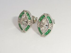 Damen-Halo-Design-925-Sterling-Silber-gruenen-Smaragd-und-weissen-Saphir-Ohrringe